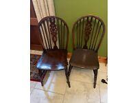 4 x Ercol Kitchen Chairs Dark Brown Vintage