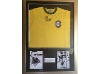 Pele signed, framed Brazil shirt