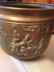 Old antique coal bucket / large planter