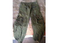 Army Green detailed combat trousers
