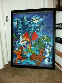 Large framed scooby doo picture 3ft by 2ft