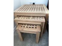 Side tables nest of 3 ikea solid acacia wood