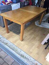 Solid Oak Dining Table and Six high back leather Chairs - extendable table