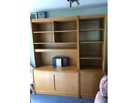 Light Oak Wall Unit with practical shelving and deep cupboards below. VGC