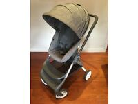 Stokke Scoot v1 Pushchair pram grey, rain cover & insect net