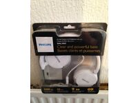 **Brand New** PHILIPS SHL3065 Foldable DJ Style Monitoring Headphones with Mic - White