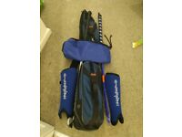 3 hockey sticks plus shin pads and bag