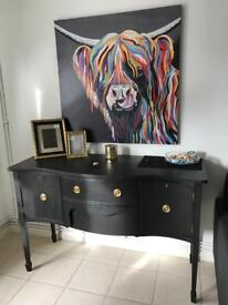 French style curved Solid Wood Sideboard