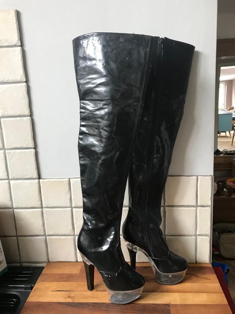 Miss X PVC Over Knee Black Diamanté Clear Platform Boots