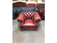 Superb vintage dellbrook oxblood leather chesterfield club chair UK delivery