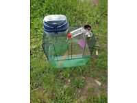 Gerbilarium with food bowl, water bottle and transport/carry case