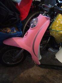 kids ride on rechargeable pink moped