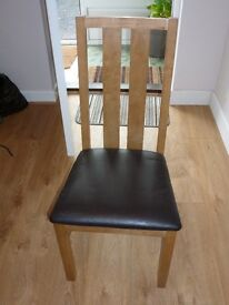Wooden/leather dining chairs x 2