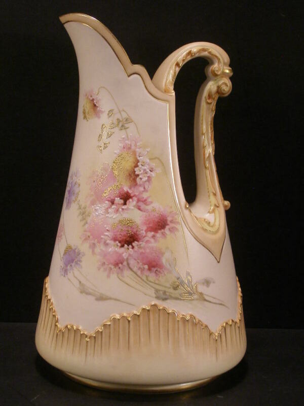 1881 Antique Royal Worcester Blush Ivory HAND PAINTED Enamel Porcelain Pitcher~