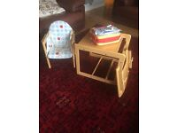 Wood High Chair with Padded Seat and Booster Seat