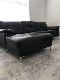 DFS black leather sofa