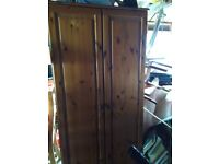 Pine wardrobe, solid pine sides top and base. Has hanging rail and shelf fab as is or as upcylce