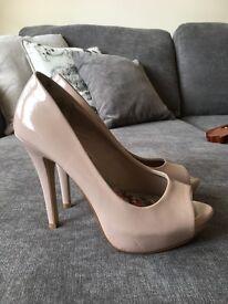 Next nude high heel peep toe shoes size 3 (36)