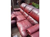 3 piece leather sofas; used