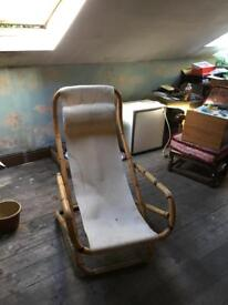 Vintage retro Brentwood bamboo sling chair