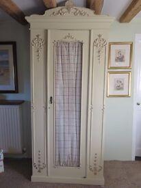 Shabby-chic decorative Edwardian painted bedroom wardrobe