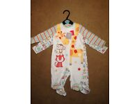 NEVER WORN. Tu set of 2 baby sleep suits. Aged up to 3 mths