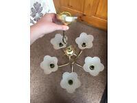 Brass and Glass Flower Light Fitting