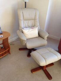 Cream swivel chair with foot stool in excellent condition