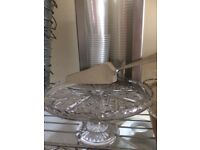 Cut glass cake stand and 3 cake servers