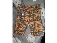 Men's summer orange camouflage shorts