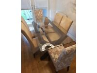 Dining table with 6 chairs (glass, leather and fabric) expensive set
