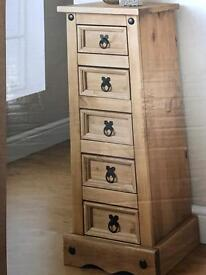 5 drawer tall chest unit was £85
