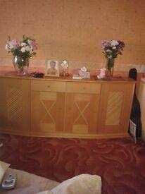 Living room suite in light beech (4 pieces)