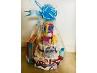 3 tier newborn baby boy nappy cake gift