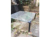 Glass table for garden or indoors