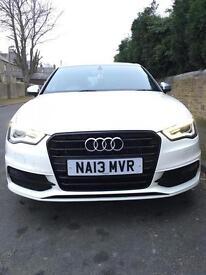 Audi a3 2.0tdi s line 2013 facelift fsh hpi clear white black edition sat nav low miles