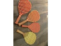 4 plastic bats for playing in the garden, park, beach