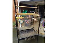Large Parrot Cage Fully Equipped For African Grey - Amazon - Cockatoo etc