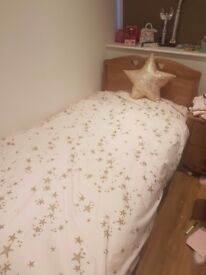 Solid wood single bed and mattress (Next)