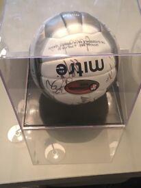 Signed ball in case , Rangers , Miller , novo , Ferguson and many more