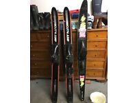 Pair of learner skis and one mono ski in great condition
