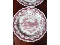 Set of 4 Pink & white Wedgwood plates