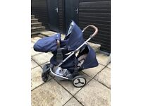 BabyStyle Hybrid Tandem / Double Stroller / Pram with Maxi Cosi Car Seat, Excellent Condition