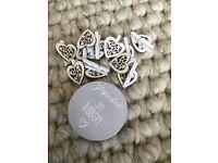 Wedding Mr & Mrs ribbon & heart shaped pegs