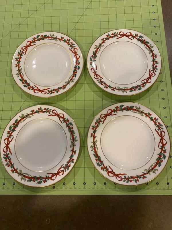 Lot - 4 Royal Worcester Holly Ribbons Salad Plates 1987 England