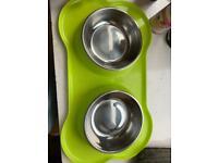 Dog bowls and holder