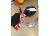 Small LS2 motorcycle helmet IMMACULATE plus extras