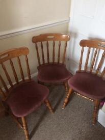 3x wooden dining chairs