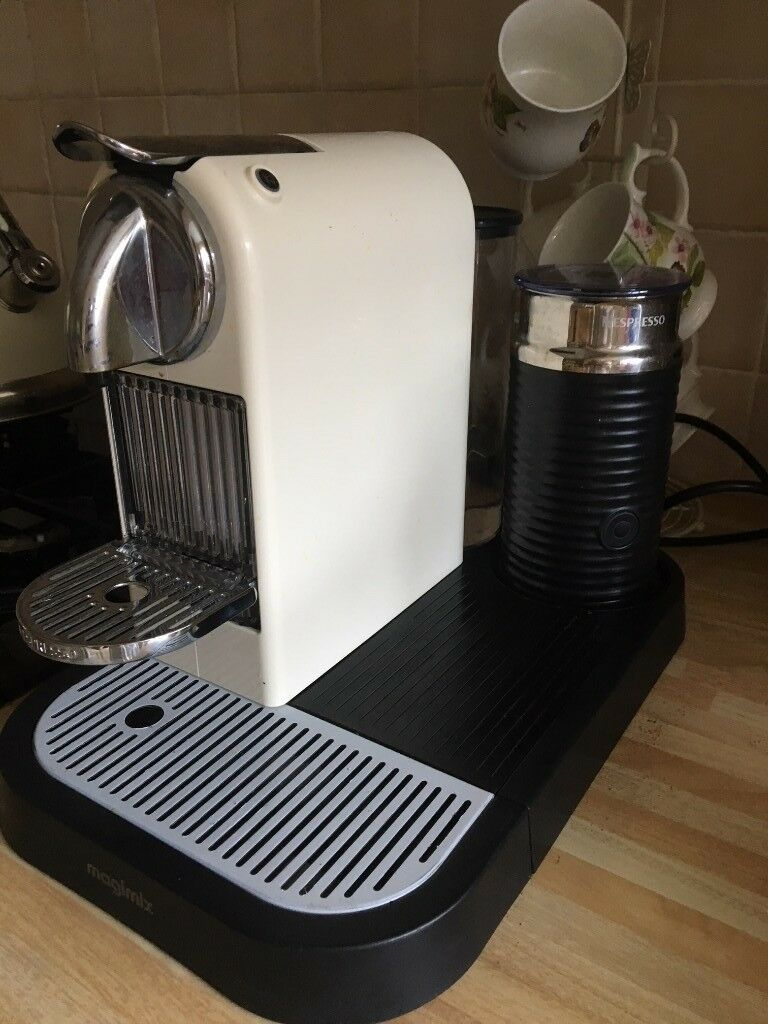 Cream Coloured Nespresso Coffee Machine With Frother