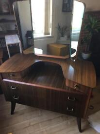 Vintage mirrored dressing table plus bedside cabinet
